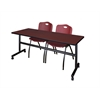 "Kobe 72"" Flip Top Mobile Training Table- Mahogany & 2 'M' Stack Chairs- Burgundy"