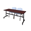 "Kobe 72"" Flip Top Mobile Training Table- Mahogany & 2 'M' Stack Chairs- Grey"