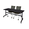 "Kobe 72"" Flip Top Mobile Training Table- Mocha Walnut & 2 Apprentice Chairs- Black"