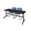 "Kobe 72"" Flip Top Mobile Training Table- Mocha Walnut & 2 Zeng Stack Chairs- Blue"
