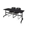 "Kobe 72"" Flip Top Mobile Training Table- Mocha Walnut & 2 Zeng Stack Chairs- Black"