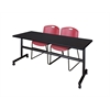 "Kobe 72"" Flip Top Mobile Training Table- Mocha Walnut & 2 Zeng Stack Chairs- Burgundy"