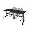 "Kobe 72"" Flip Top Mobile Training Table- Mocha Walnut & 2 Zeng Stack Chairs- Grey"