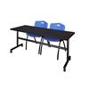 "Kobe 72"" Flip Top Mobile Training Table- Mocha Walnut & 2 'M' Stack Chairs- Blue"