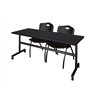 "Kobe 72"" Flip Top Mobile Training Table- Mocha Walnut & 2 'M' Stack Chairs- Black"