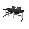 "Kobe 72"" Flip Top Mobile Training Table- Mocha Walnut & 2 Mario Stack Chairs- Black"