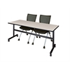 "Kobe 72"" Flip Top Mobile Training Table- Maple & 2 Apprentice Chairs- Black"