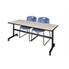 "Kobe 72"" Flip Top Mobile Training Table- Maple & 2 Zeng Stack Chairs- Blue"