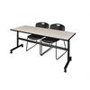 "Kobe 72"" Flip Top Mobile Training Table- Maple & 2 Zeng Stack Chairs- Black"