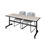 """Kobe 72"""" Flip Top Mobile Training Table- Maple & 2 Zeng Stack Chairs- Grey"""