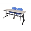 "Kobe 72"" Flip Top Mobile Training Table- Maple & 2 'M' Stack Chairs- Blue"