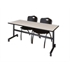 "Kobe 72"" Flip Top Mobile Training Table- Maple & 2 'M' Stack Chairs- Black"