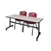 "Kobe 72"" Flip Top Mobile Training Table- Maple & 2 'M' Stack Chairs- Burgundy"
