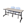"Kobe 72"" Flip Top Mobile Training Table- Maple & 2 'M' Stack Chairs- Grey"