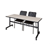 """Kobe 72"""" Flip Top Mobile Training Table- Maple & 2 Mario Stack Chairs- Black"""
