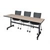 "Kobe 84"" Flip Top Mobile Training Table- Beige & 3 Apprentice Chairs- Black"