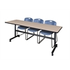 "Kobe 84"" Flip Top Mobile Training Table- Beige & 3 Zeng Stack Chairs- Blue"