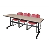 "Kobe 84"" Flip Top Mobile Training Table- Beige & 3 Zeng Stack Chairs- Burgundy"