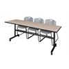 "Kobe 84"" Flip Top Mobile Training Table- Beige & 3 Zeng Stack Chairs- Grey"