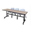 """Kobe 84"""" Flip Top Mobile Training Table- Beige & 3 'M' Stack Chairs- Grey"""