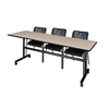 "Kobe 84"" Flip Top Mobile Training Table- Beige & 3 Mario Stack Chairs- Black"