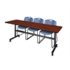 "Kobe 84"" Flip Top Mobile Training Table- Cherry & 3 Zeng Stack Chairs- Blue"