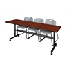 "Kobe 84"" Flip Top Mobile Training Table- Cherry & 3 Zeng Stack Chairs- Grey"