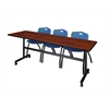 """Kobe 84"""" Flip Top Mobile Training Table- Cherry & 3 'M' Stack Chairs- Blue"""