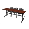 "Kobe 84"" Flip Top Mobile Training Table- Cherry & 3 'M' Stack Chairs- Black"