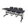 "Kobe 84"" Flip Top Mobile Training Table- Grey & 3 Zeng Stack Chairs- Black"
