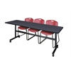"Kobe 84"" Flip Top Mobile Training Table- Grey & 3 Zeng Stack Chairs- Burgundy"