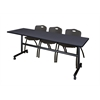 """Kobe 84"""" Flip Top Mobile Training Table- Grey & 3 'M' Stack Chairs- Black"""