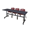 "Kobe 84"" Flip Top Mobile Training Table- Grey & 3 'M' Stack Chairs- Burgundy"