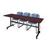 """Kobe 84"""" Flip Top Mobile Training Table- Mahogany & 3 Zeng Stack Chairs- Blue"""