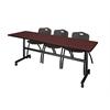 "Kobe 84"" Flip Top Mobile Training Table- Mahogany & 3 'M' Stack Chairs- Black"