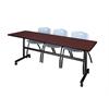 "Kobe 84"" Flip Top Mobile Training Table- Mahogany & 3 'M' Stack Chairs- Grey"