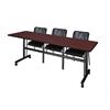 "Kobe 84"" Flip Top Mobile Training Table- Mahogany & 3 Mario Stack Chairs- Black"