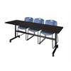 "Kobe 84"" Flip Top Mobile Training Table- Mocha Walnut & 3 Zeng Stack Chairs- Blue"