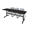 "Kobe 84"" Flip Top Mobile Training Table- Mocha Walnut & 3 Zeng Stack Chairs- Grey"