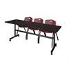 "Kobe 84"" Flip Top Mobile Training Table- Mocha Walnut & 3 'M' Stack Chairs- Burgundy"
