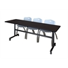 "Kobe 84"" Flip Top Mobile Training Table- Mocha Walnut & 3 'M' Stack Chairs- Grey"