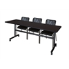 "Kobe 84"" Flip Top Mobile Training Table- Mocha Walnut & 3 Mario Stack Chairs- Black"