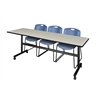 """Kobe 84"""" Flip Top Mobile Training Table- Maple & 3 Zeng Stack Chairs- Blue"""
