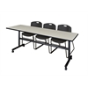 "Kobe 84"" Flip Top Mobile Training Table- Maple & 3 Zeng Stack Chairs- Black"