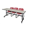 "Kobe 84"" Flip Top Mobile Training Table- Maple & 3 Zeng Stack Chairs- Burgundy"