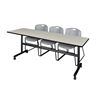 "Kobe 84"" Flip Top Mobile Training Table- Maple & 3 Zeng Stack Chairs- Grey"