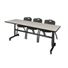 "Kobe 84"" Flip Top Mobile Training Table- Maple & 3 'M' Stack Chairs- Black"