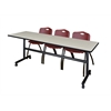 "Kobe 84"" Flip Top Mobile Training Table- Maple & 3 'M' Stack Chairs- Burgundy"