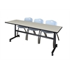"""Kobe 84"""" Flip Top Mobile Training Table- Maple & 3 'M' Stack Chairs- Grey"""