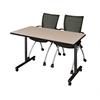 "42"" x 24"" Kobe Mobile Training Table- Beige & 2 Apprentice Chairs- Black"